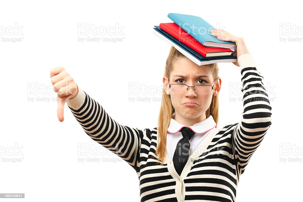 Portrait of an unhappy student girl royalty-free stock photo