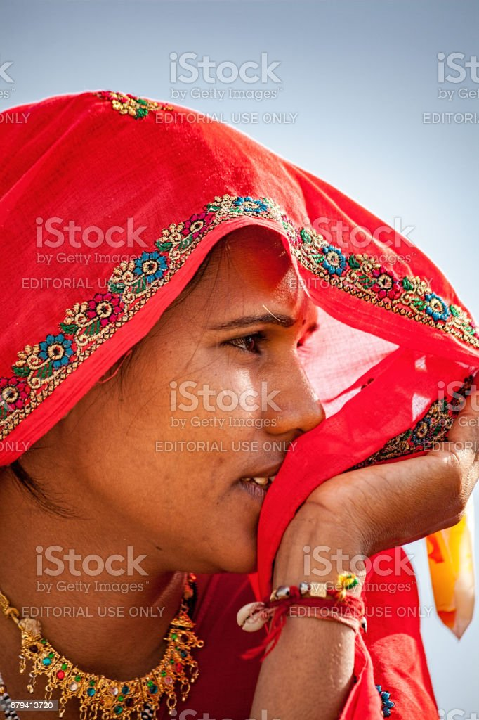Portrait of an unidentified Indian woman in a colorful saree at Chaksu Fair royalty-free stock photo