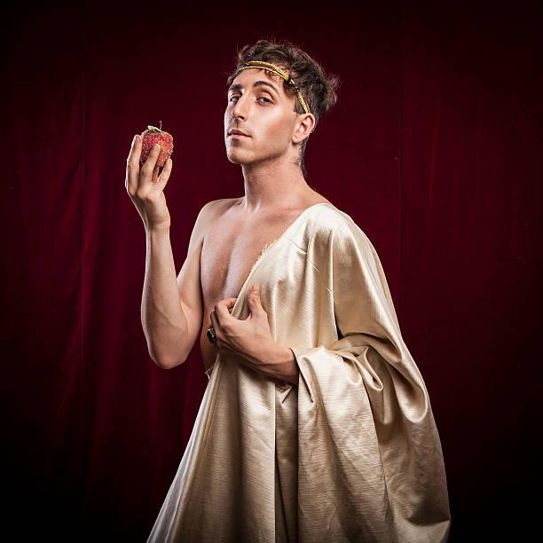 portrait of ancient roman man - toga kostüm stock-fotos und bilder