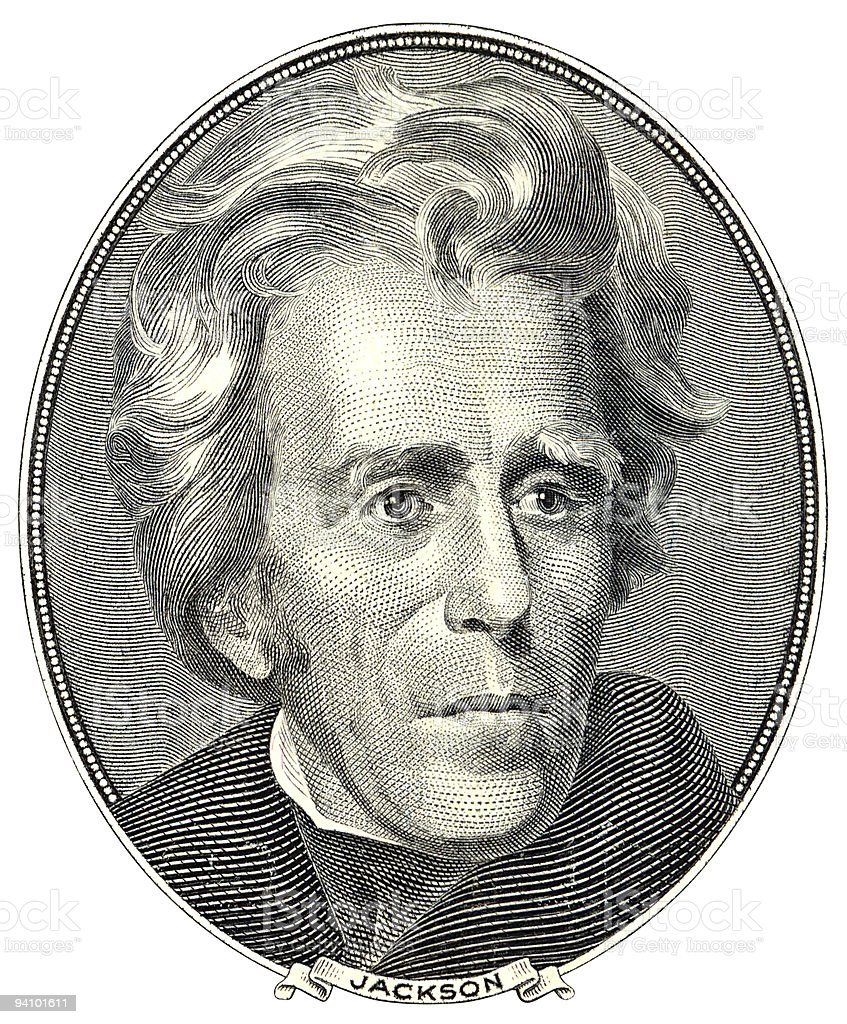 Portrait of andrew jackson on bill stock photo