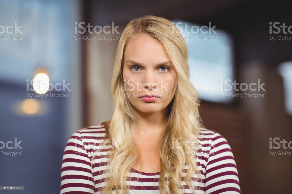 Portrait of angry businesswoman stock photo