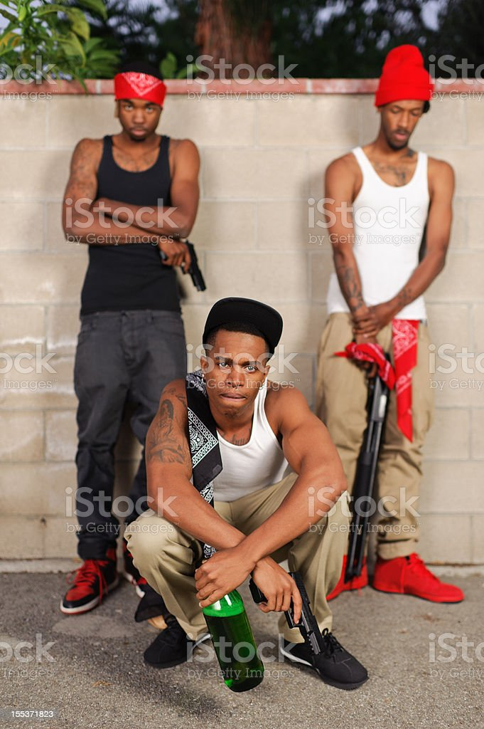 portrait of angry gang bangers stock photo