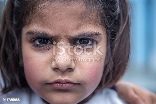 941782244 istock photo Portrait of  angry little girl student of Indian origin 941785888