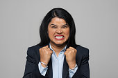 istock Portrait of angry young businesswoman 1311434764