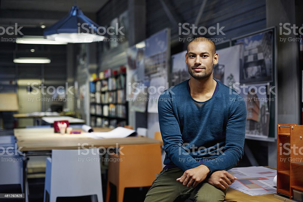 Portrait of architect Portrait of male architect at workstation in modern studio 30-34 Years Stock Photo
