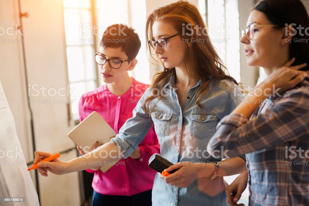 Portrait of architects discussing and drawing on board royalty-free stock photo