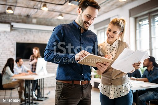 istock Portrait of architects having discussion in office 944101964