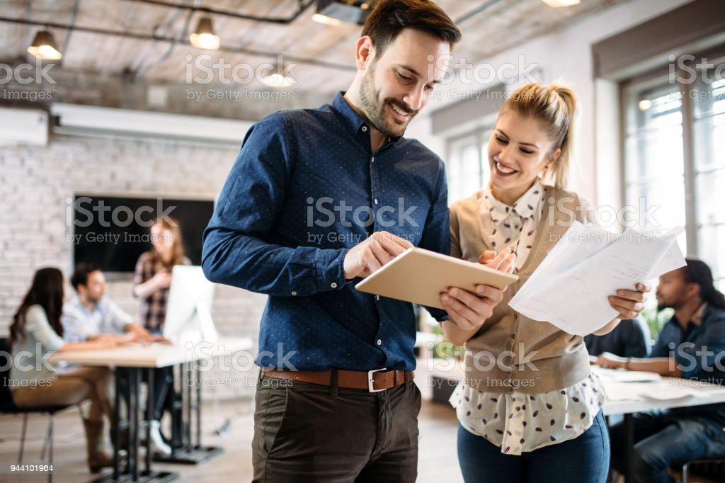 Portrait of architects having discussion in office - foto stock
