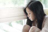 アジアの悲しみのポートレート、美しい少女