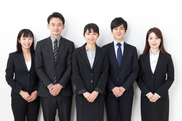 亞洲商業集團在白色背景下的肖像 - 日本人 個照片及圖片檔