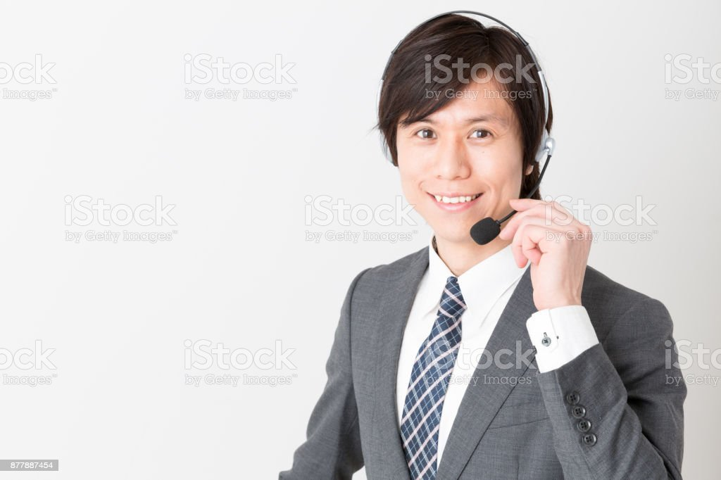 portrait of asian businessman isolated on white background stock photo