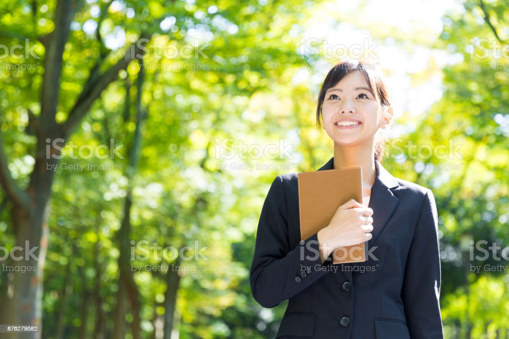 公園のアジア女性実業家の肖像画 ストックフォト