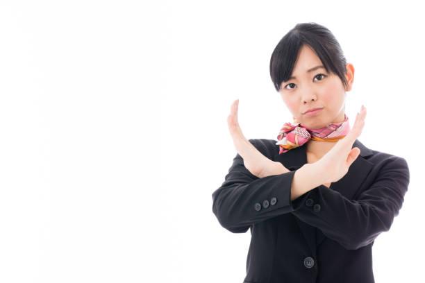アジアのビジネスウーマンの肖像画の分離に白背景 - 客室乗務員 ストックフォトと画像