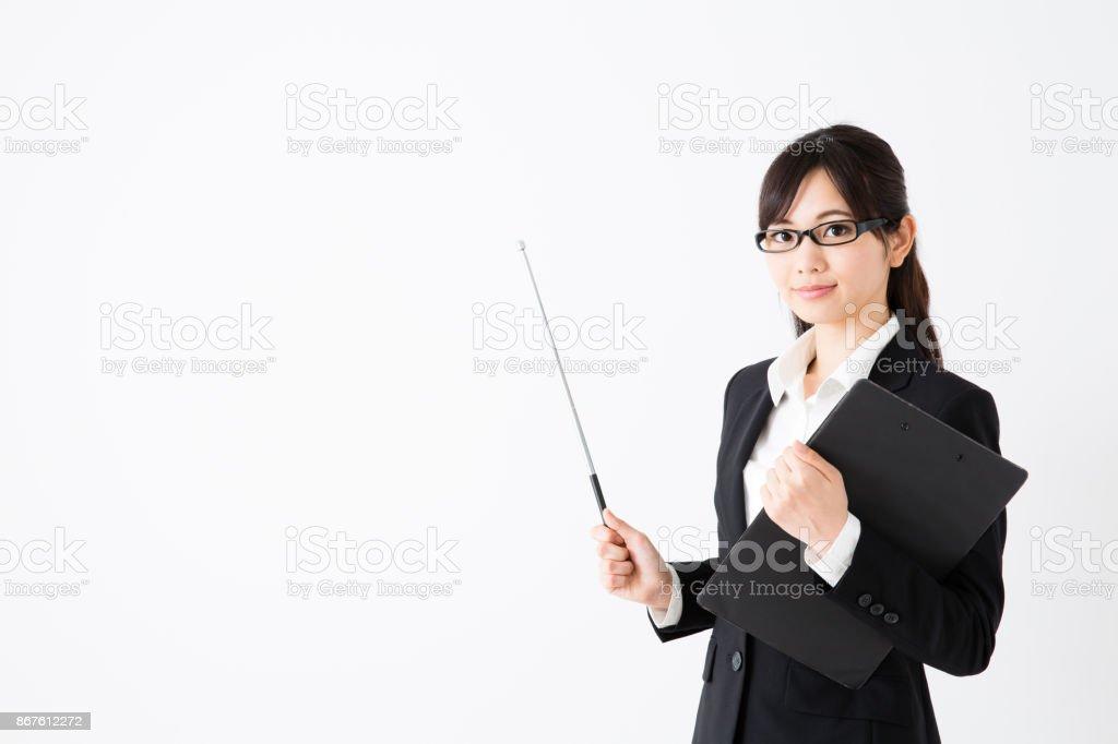 アジアのビジネスウーマンの肖像画の分離に白背景 ストックフォト