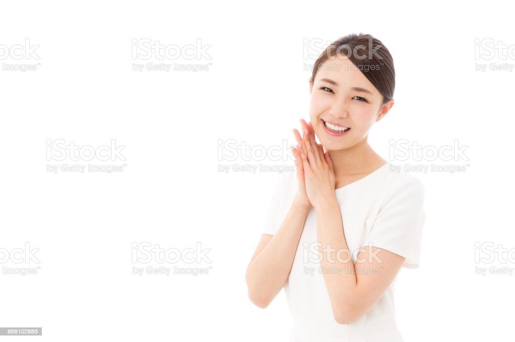 Retrato de Mulher de negócios asiáticos isolado no fundo branco - foto de acervo