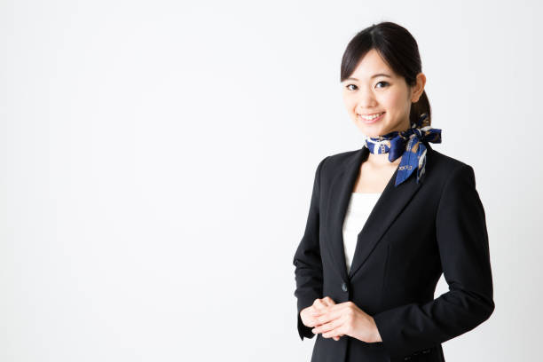 portrait of asian businesswoman isolated on wthie background portrait of asian businesswoman isolated on wthie background cabin crew stock pictures, royalty-free photos & images