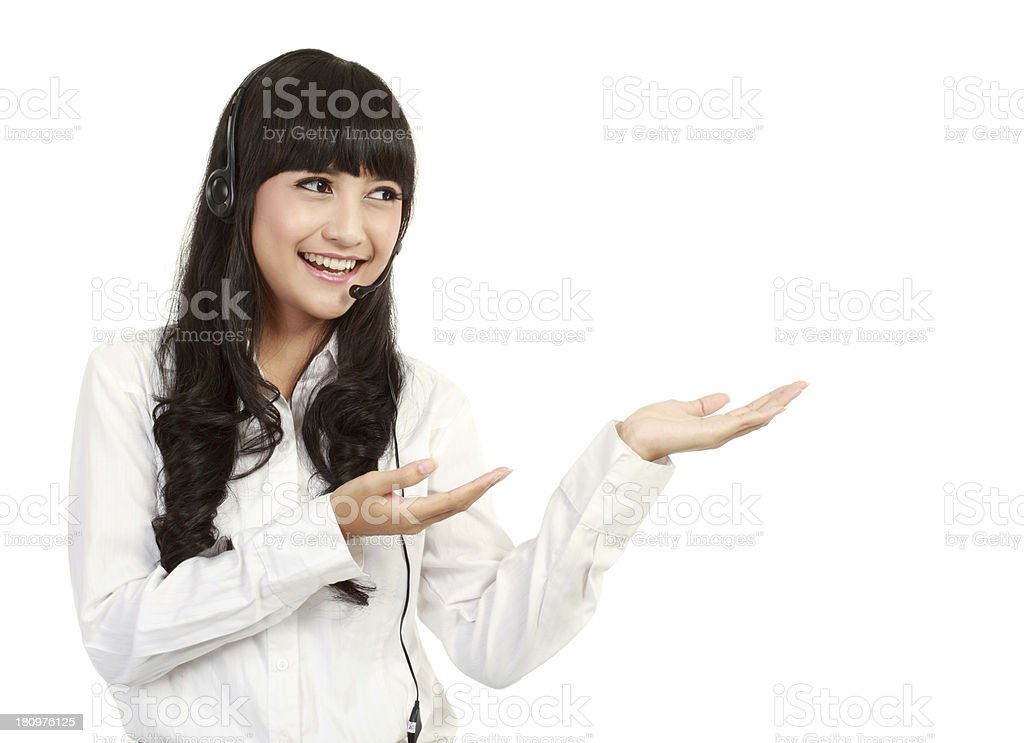 Portrait of asian businesswoman with headset royalty-free stock photo