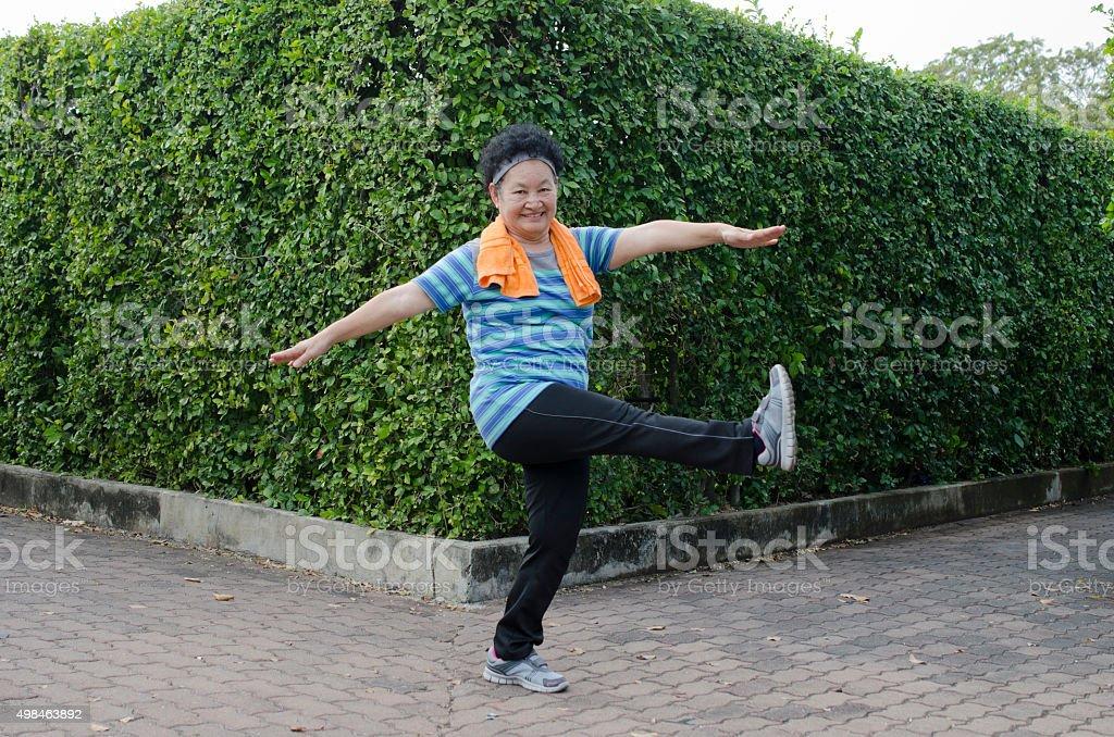 Portrait of Asian Elderly Exercise in the park stock photo