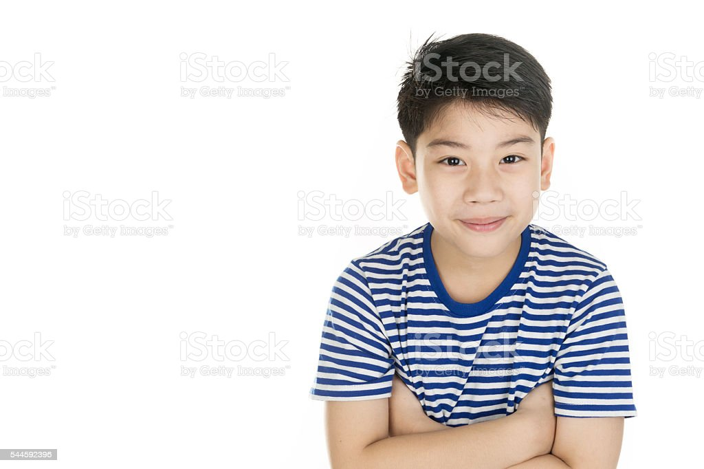 Portrait of asian happy boy smile face stock photo