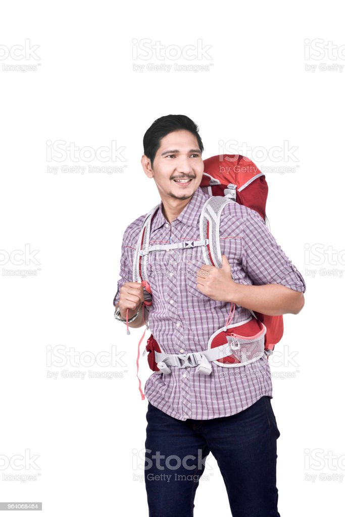 Portrait of asian male backpacker ready to traveling - Royalty-free Adult Stock Photo