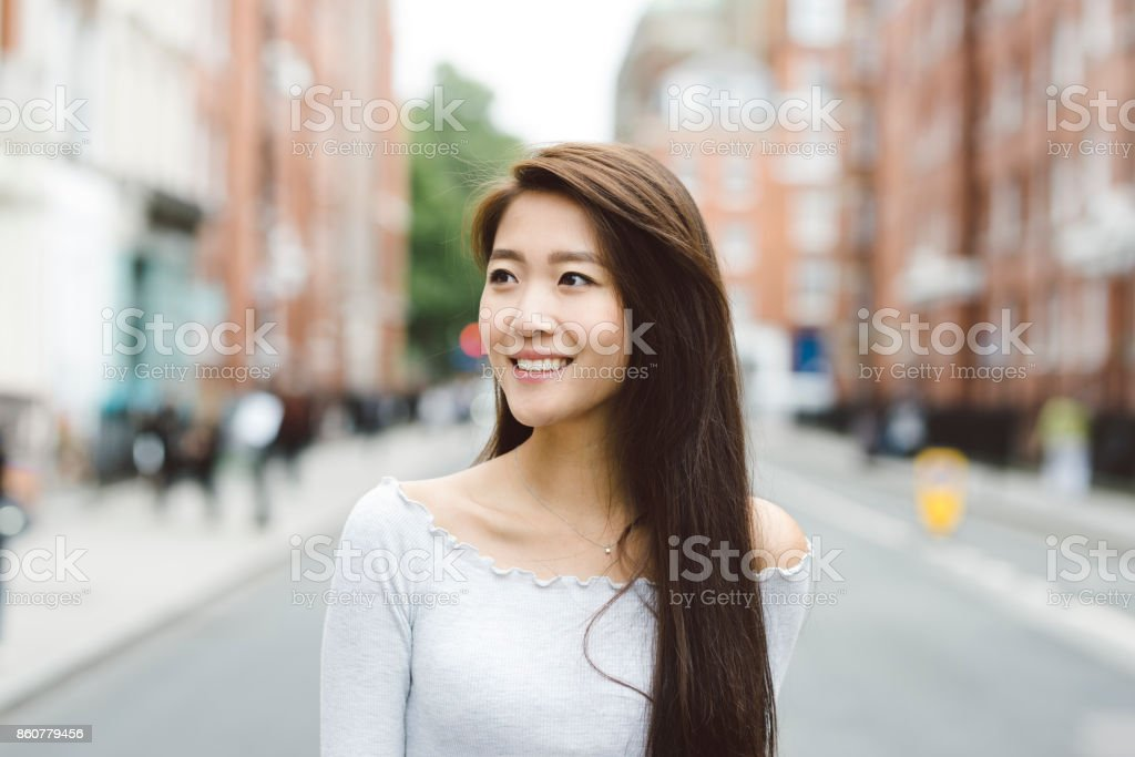 Portrait of Asian Student on Streets of London stock photo