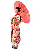 asian woman wearing traditional japanese furisode