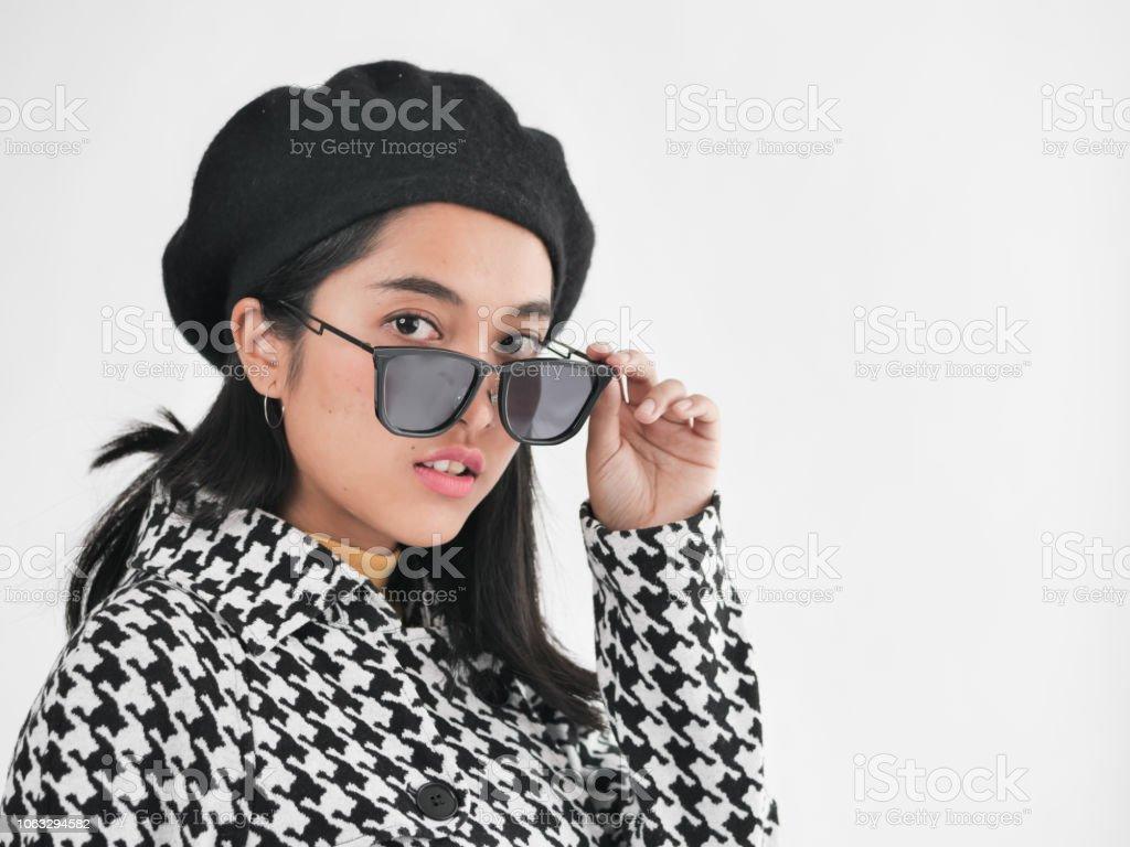 f80dea1fb54 Portrait Of Asian Woman Wearing Winter Jacket And Sunglasses Winter ...
