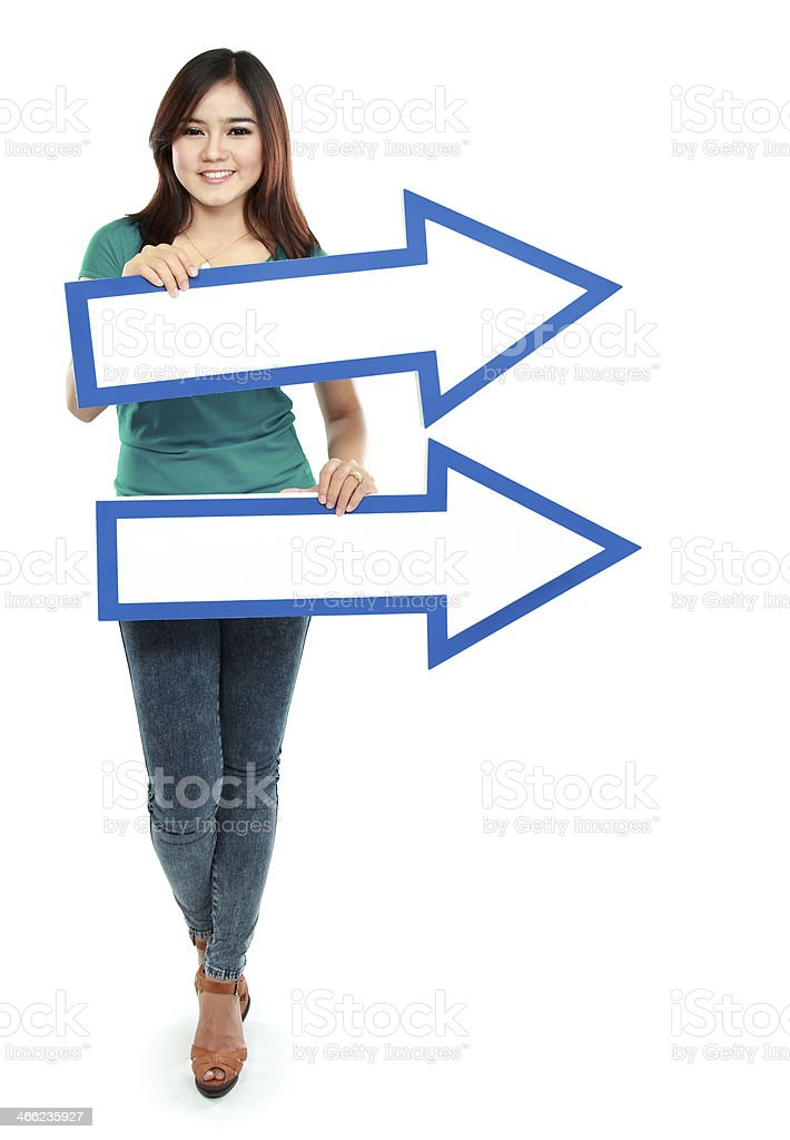 Portrait of asian woman with directory  arrows royalty-free stock photo