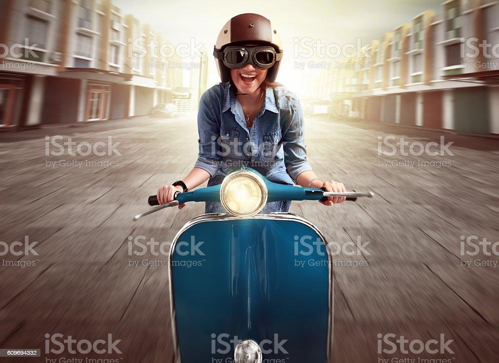 Portrait of asian women enjoying riding stock photo