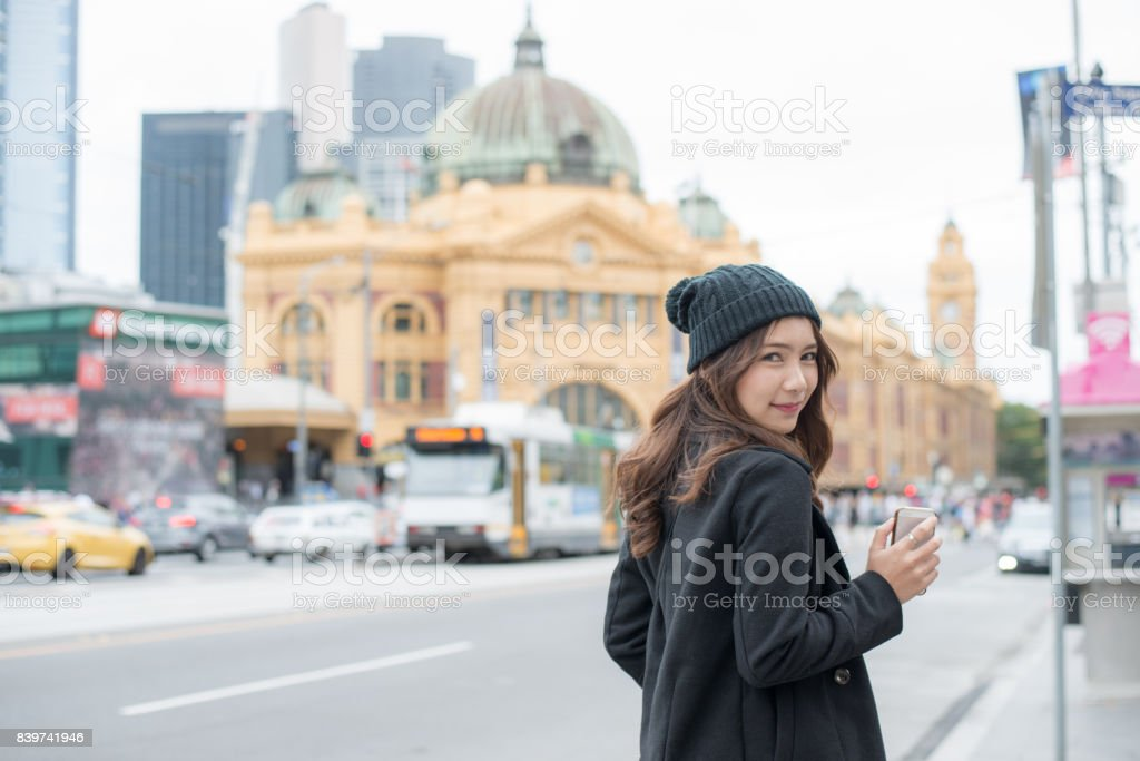 Portrait of Asian women travel in Melbourne the most liveable city in the world of Victoria state of Australia. stock photo