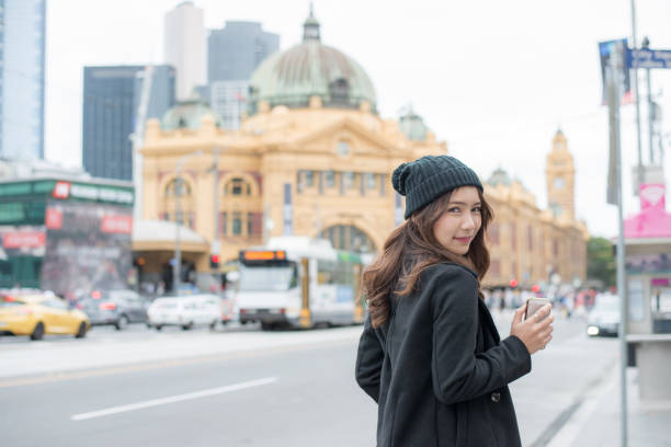 portrait of asian women travel in melbourne the most liveable city in the world of victoria state of australia. - melbourne australia foto e immagini stock