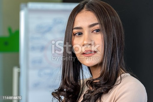 519052198 istock photo Portrait of asian young businesswoman in formal suit standing in the workplace 1144816870