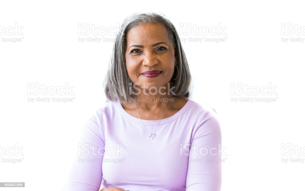 Portrait of attractive African American senior woman stock photo