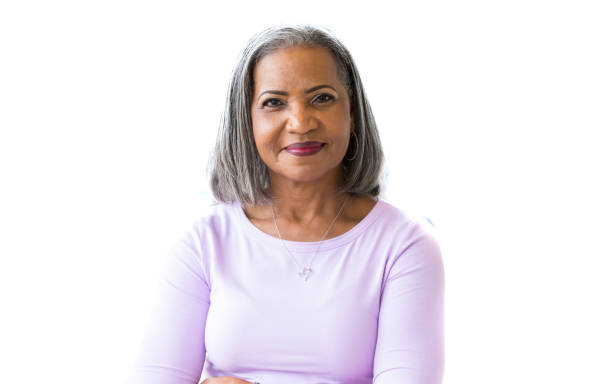 Portrait of attractive African American senior woman - foto stock
