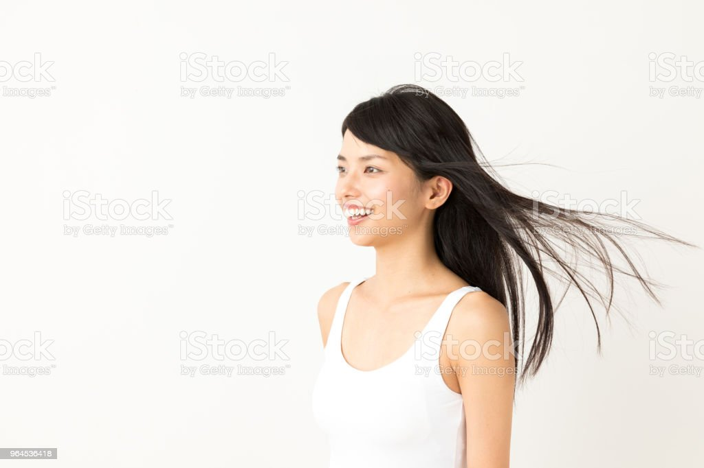 portrait of attractive asian woman beauty image on white background stock photo