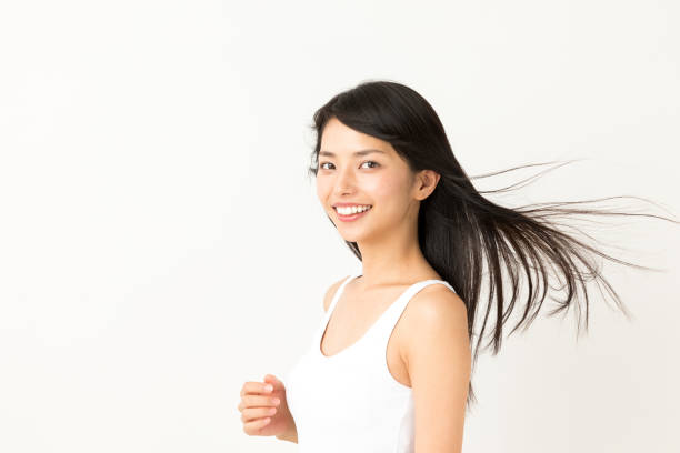 魅力的なアジアの女性の美しさ画像白い背景の上の肖像画 ストックフォト