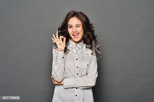 istock Portrait of attractive brunette businesswoman 620736806