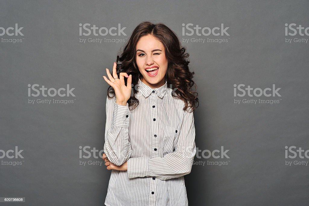 Portrait of attractive brunette businesswoman stock photo