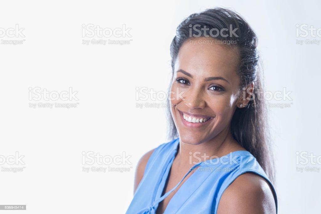 Portrait of attractive businesswoman stock photo