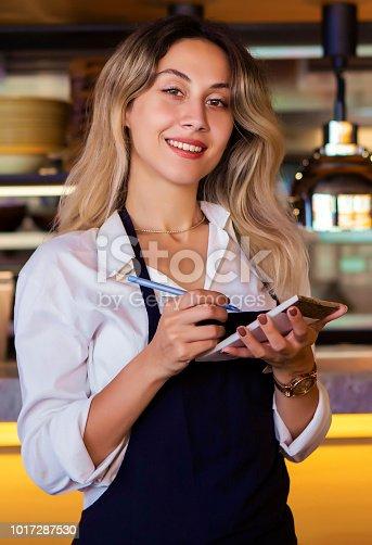 1066358064istockphoto Portrait of attractive female barista working in cafeteria 1017287530