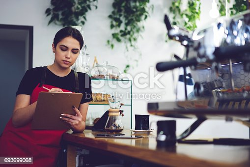 istock Portrait of attractive female barista working in cafeteria 693699068