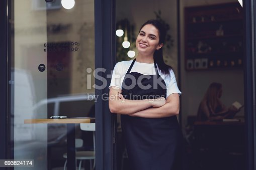 istock Portrait of attractive female barista working in cafeteria 693824174