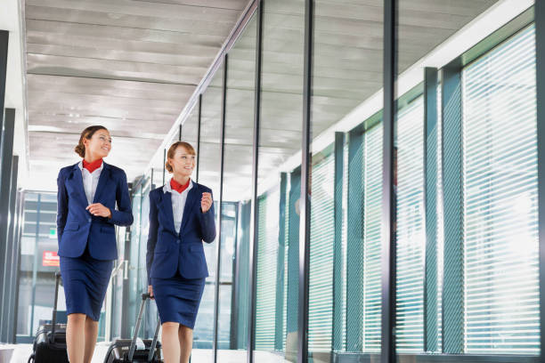 Portrait of attractive flight attendants walking with their suitcase in airport stock photo