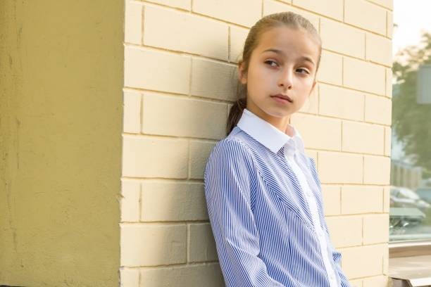 Portrait of attractive girl of 10-11 years old stock photo