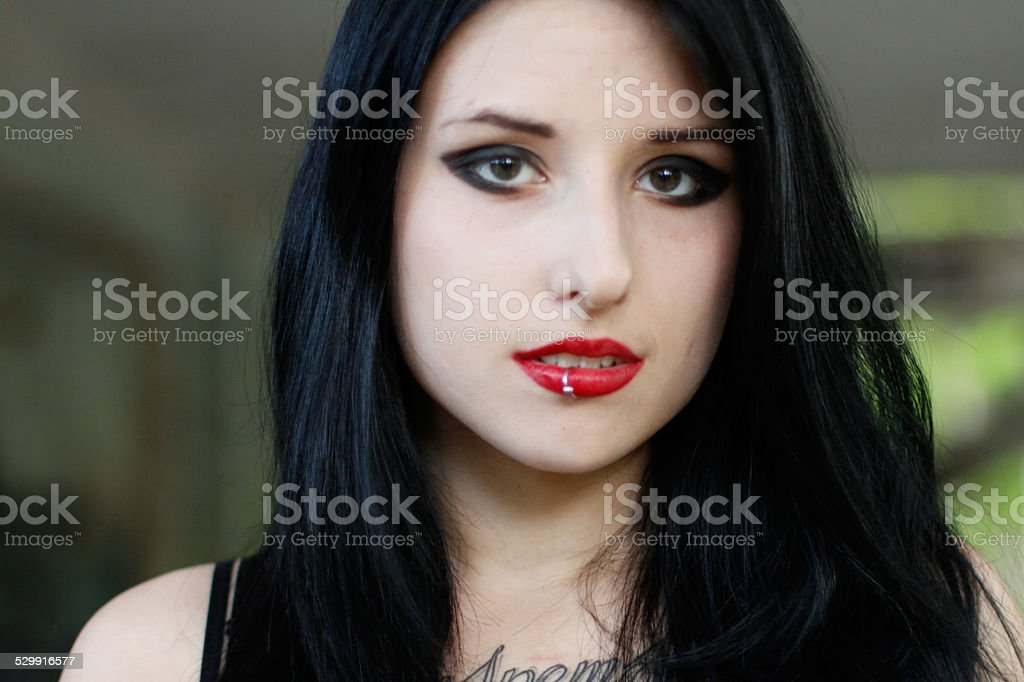 Portrait of attractive girl with black hair stock photo
