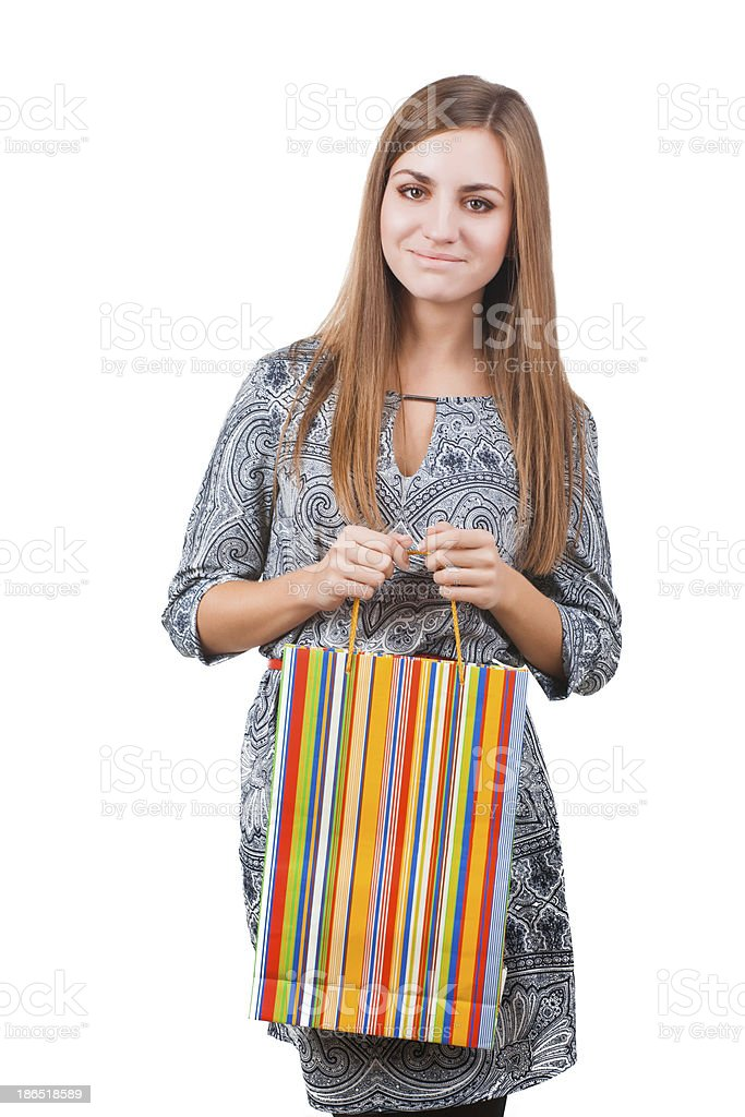 Portrait of attractive woman with shopping bag royalty-free stock photo