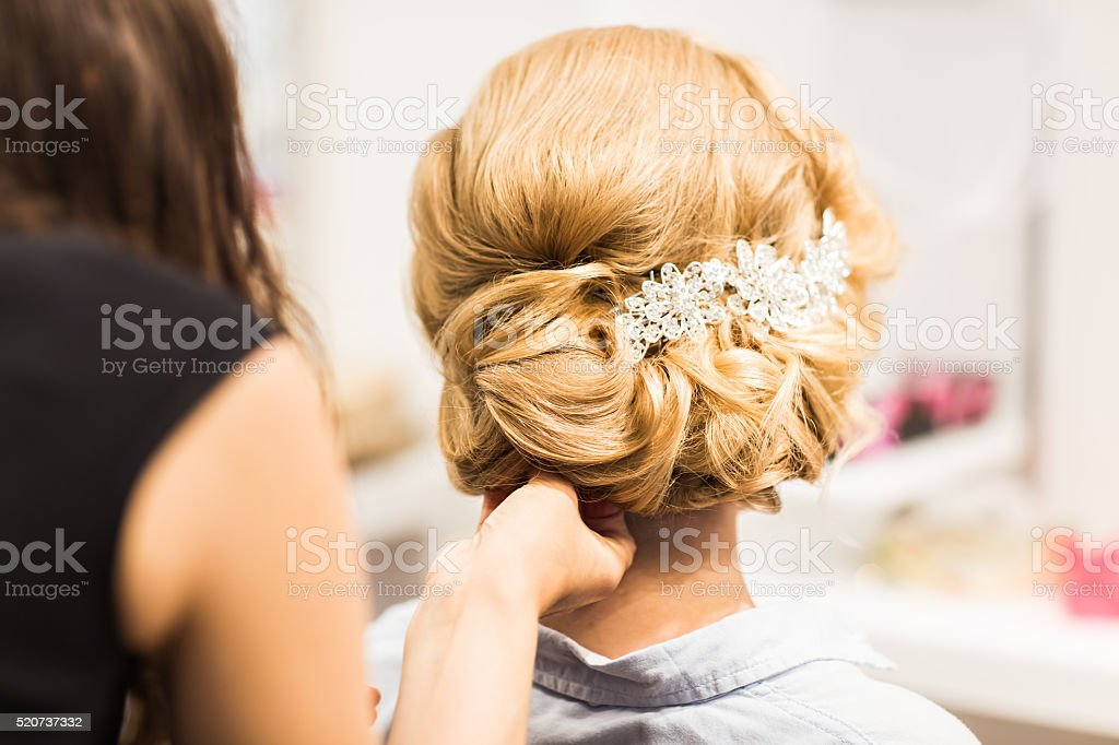 Portrait of attractive young woman with beautiful hairstyle and stylish stock photo