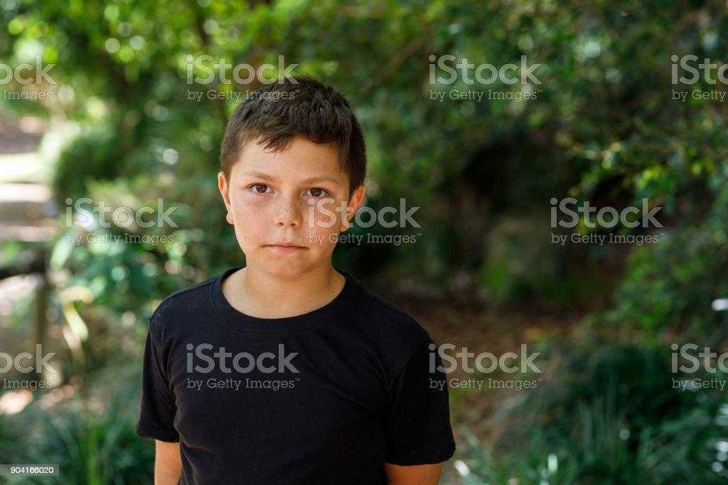 Portrait of Australian Aboriginal Boy stock photo