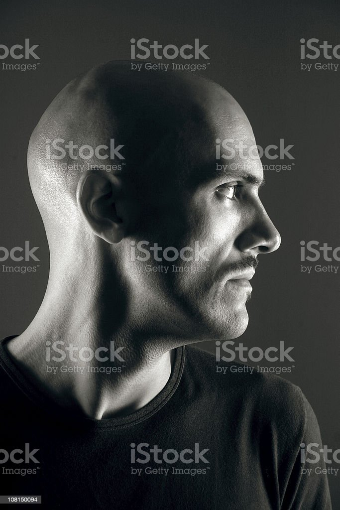 Portrait of Bald Young Man, Black and White royalty-free stock photo