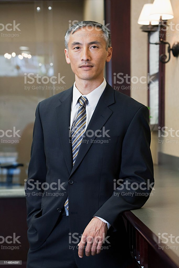 Portrait of bank manager in bank stock photo